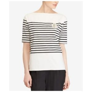 Lauren Ralph Lauren Striped White Top Short Sleeve